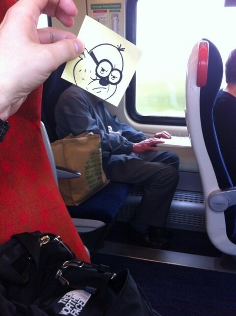 This Guy Turns Train Commuters Into Cartoon Faces To Pass Time On His Commute To Work