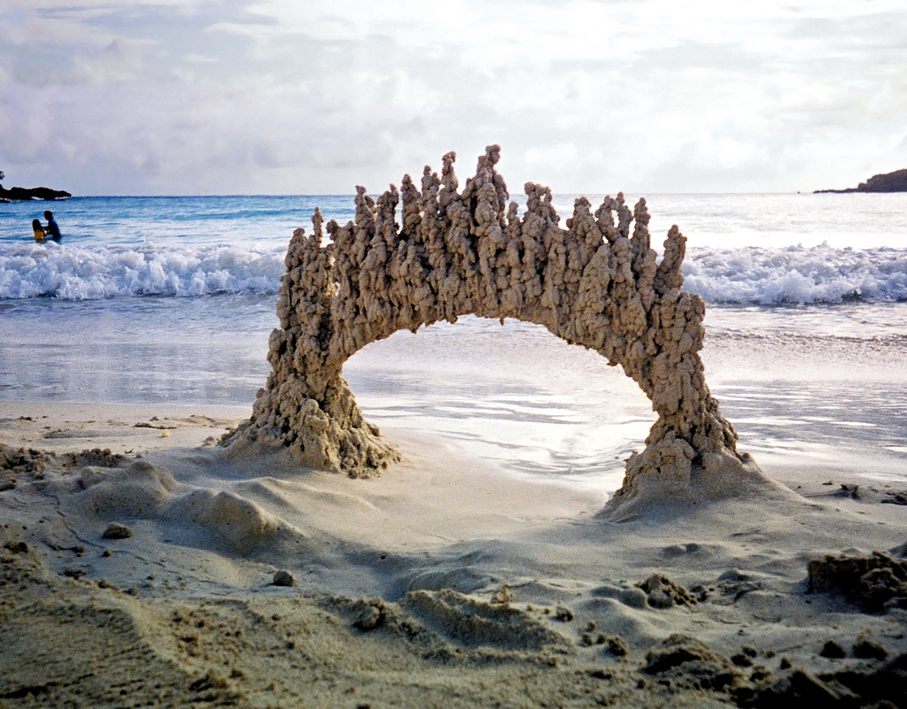 Man Creates Stunning Abstract Sandcastles With Junk He Finds On The Beach