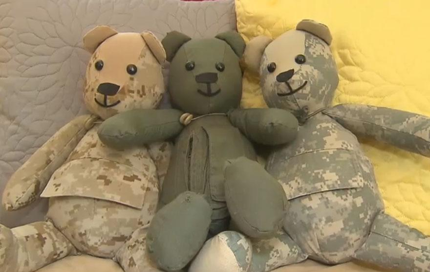 Mom Comforts Grieving Families With Teddy Bears Sewn From Soldiers' Uniforms For The Families They Left Behind