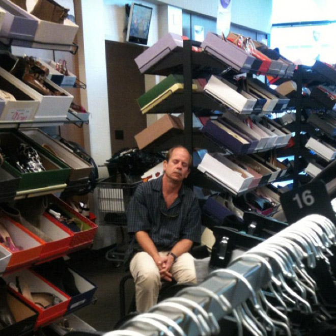 14 Defeated Men Hilariously Caught Sleeping While Their Women Were Shopping