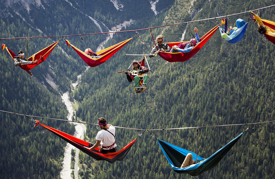 People At This Festival Sleep In Hammocks Hundreds Of Feet Above The Italian Alps
