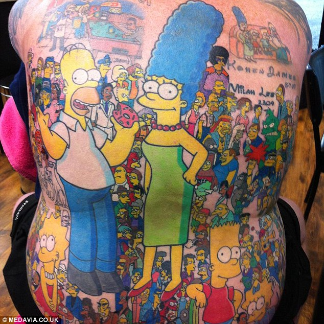 Man Gets Over 200 Tattoos Of 'The Simpsons' And Sets World Record
