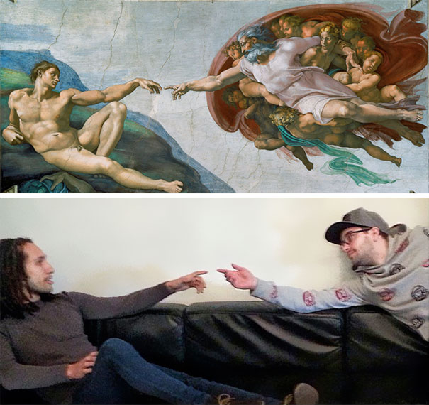 Bored Coworkers Recreate Famous Paintings Using Office Supplies