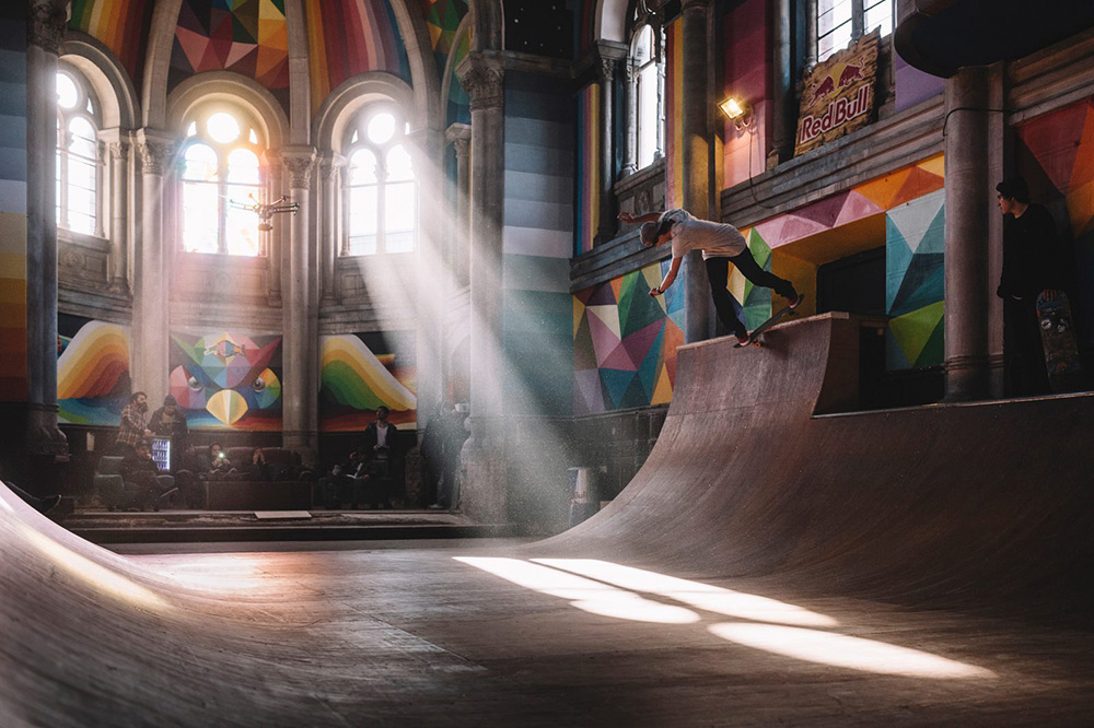 100-Year-Old Church Transformed Into A Skate Park Painted With Colorful Graffiti