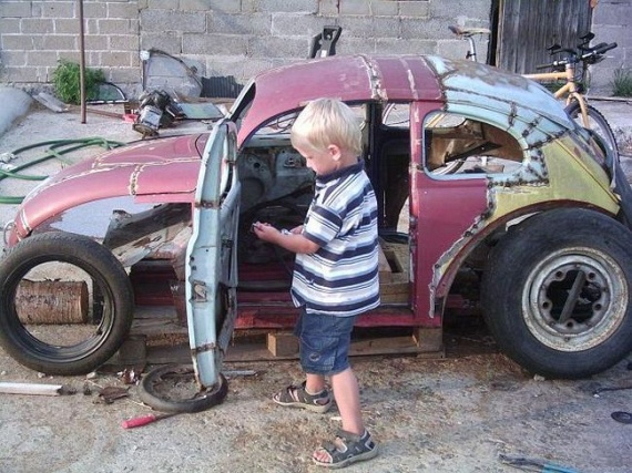 Dad Converts Old VW Beetle Into A Fully-Functioning Mini Hot Rod For His Son