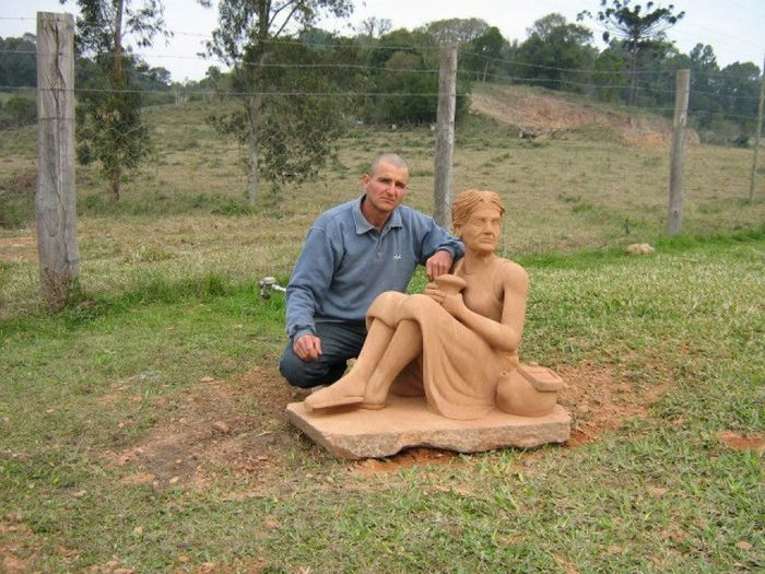 Man Carves Out Rock Sculpture Of His Mom Using Only An Axe