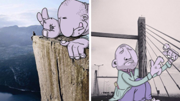 Guy Adds Hilarious Cartoons To Boring Photos He Finds On Instagram