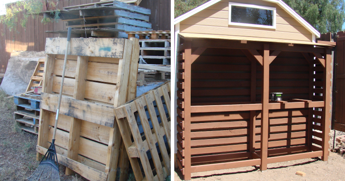 Guy Makes Entire Shed Out Of Pallets He Had Collected For A Few Months Buzznick