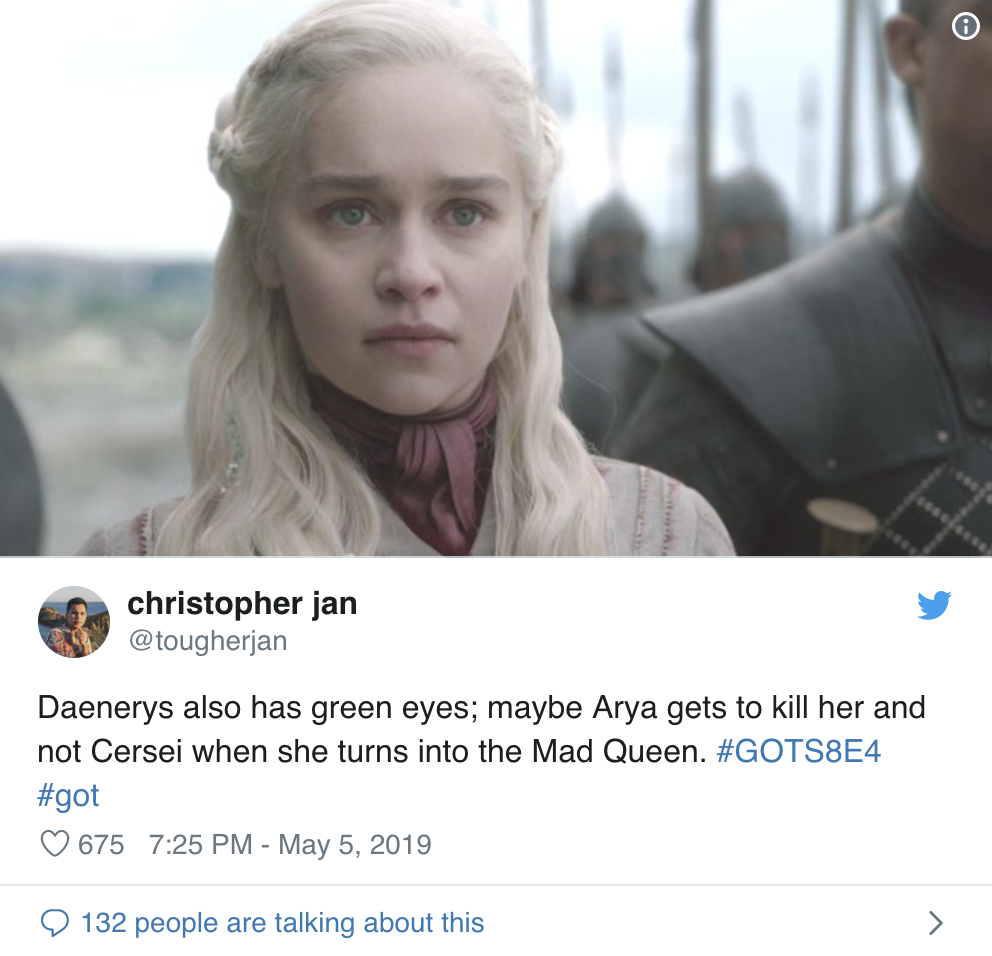 Game Of Thrones Fans Are Convinced That Arya Will Kill Daenerys In This Week's Episode