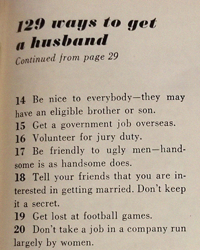 This '129 Ways To Get a Husband' Article From 1958 Shows Just How Much Times Have Changed