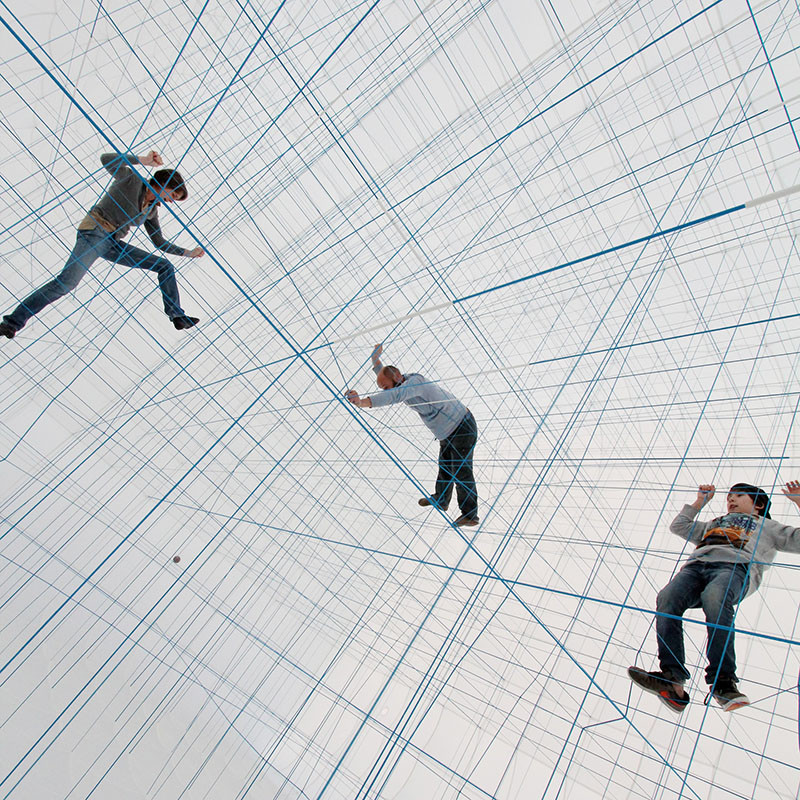 Inflatable Three-Story Cube Made Of Strings Is A Jungle Gym For Adults