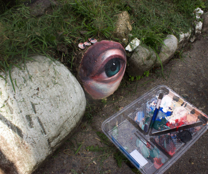 Woman Collects Rocks, Paints Realistic Eyes On Them And Returns Them For People To Find