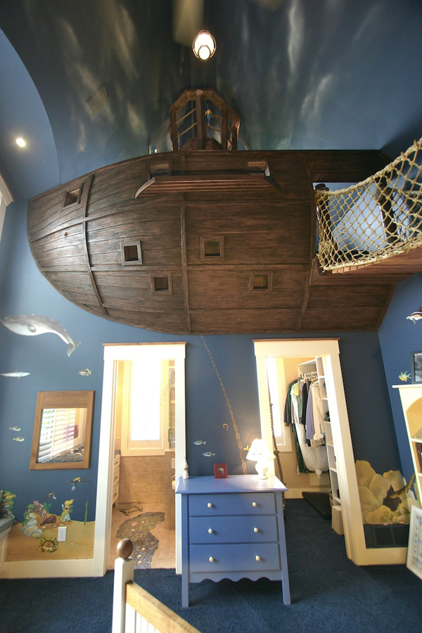 Dad Builds His Son An Epic Pirate Ship Bedroom With A Slide To Go Down