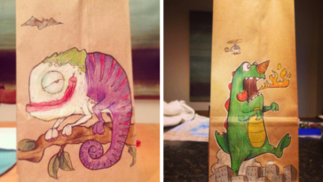 Dad Drew Different Characters On Son's Lunch Bags Every Day For Last 2 Years