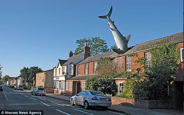House With A Great White Shark Sticking Out Of The Roof Is For Sale