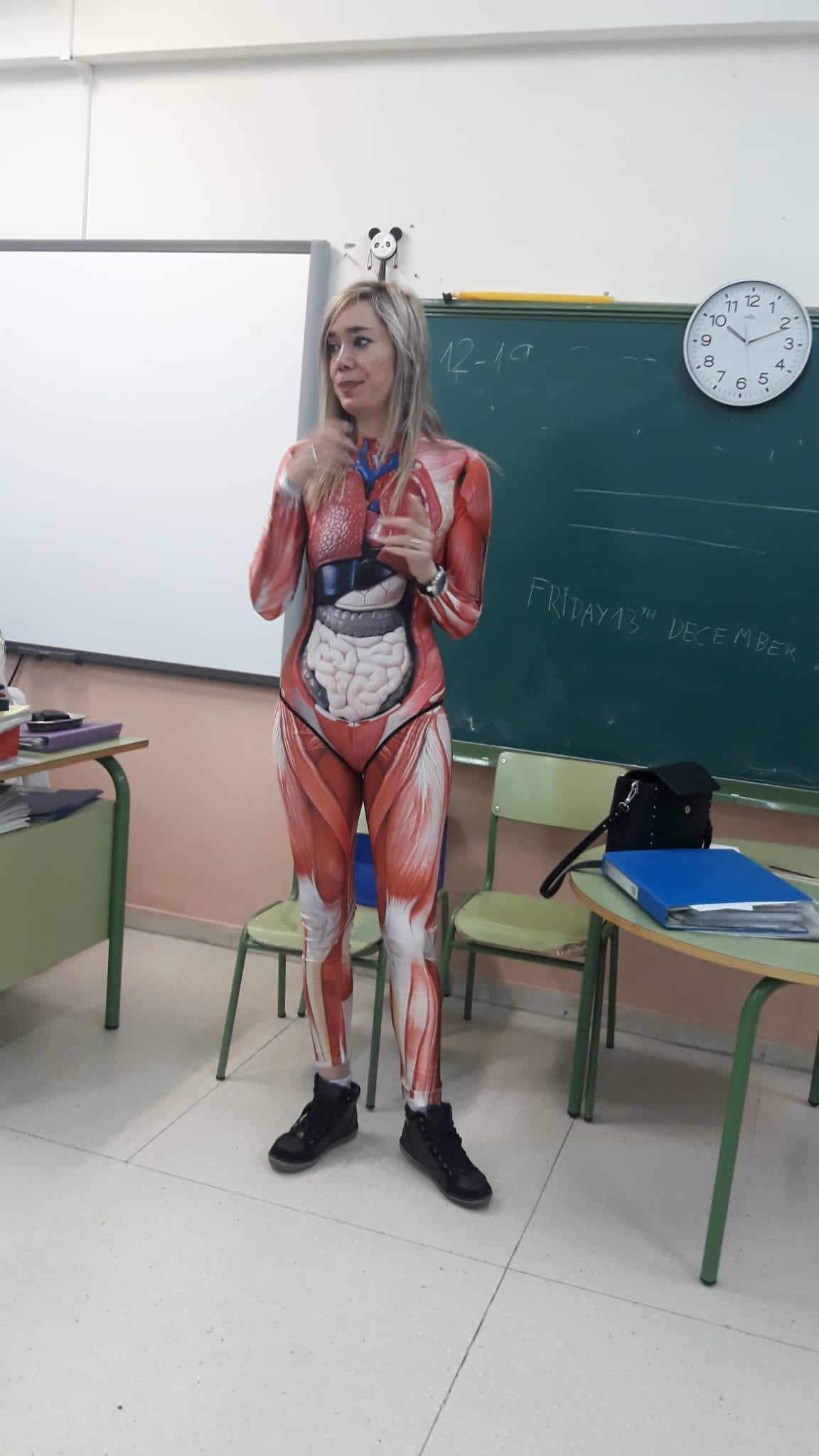 Teacher Gives Anatomy Lesson In Full-Body Suit That Maps Out Entire Human Body In Detail