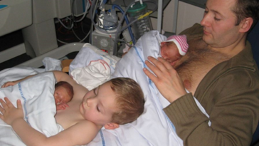 Boy Helps Dad Give Skin-To-Skin To Premature Twins