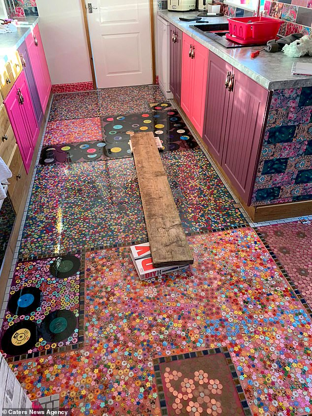 Woman Turns Cheating Ex-Husband's Record Collection Into New Kitchen Floor