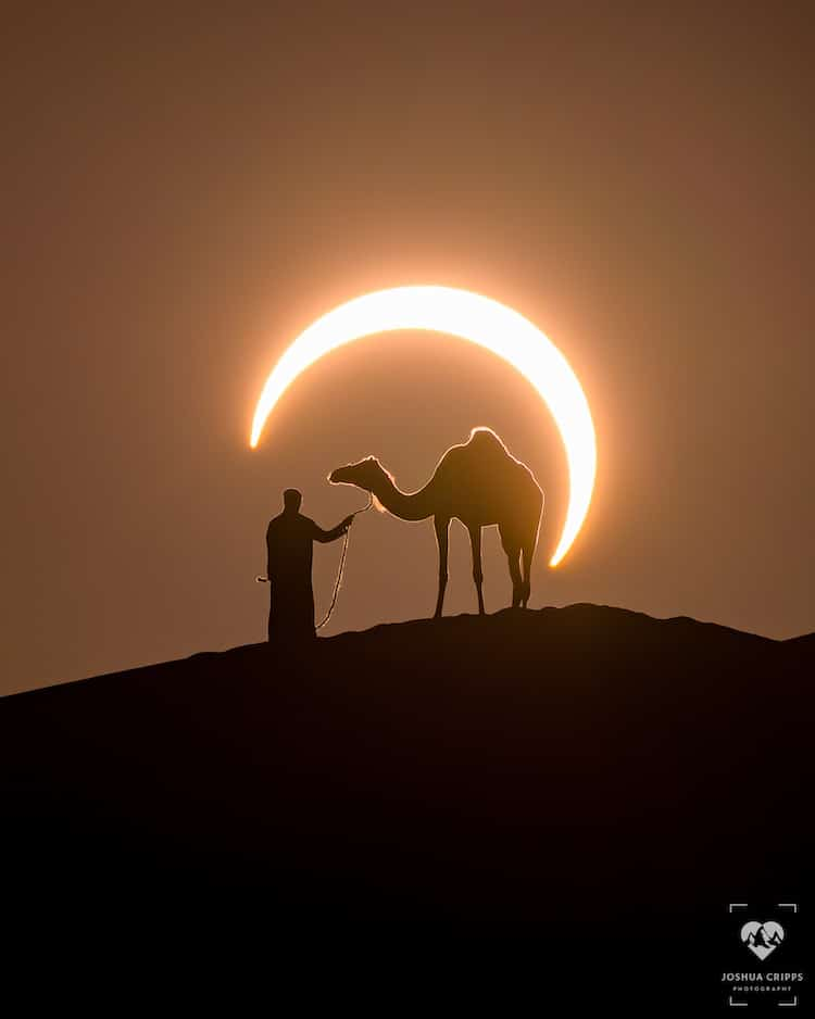 Photographer Captures Perfectly Timed Photos Of A Man Leading A Camel During A Solar Eclipse (16 Pics)