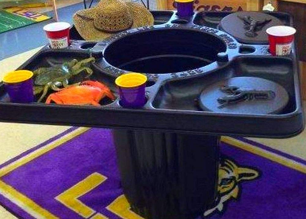 Enjoy Your Seafood Without The Mess With This Table That Includes A Built-In Trash Can