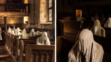 Pews In Church Lined With Ghosts To Represent Germans Who Used To Pray Before World War 2